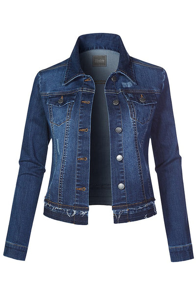 Distressed Detail Dark Denim Jacket
