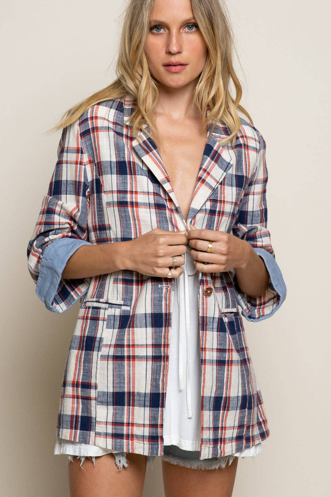 Miss American Pie Plaid & Denim Jacket