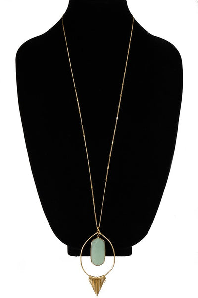 Ring Burst w/ Semi-Precious Stone Necklace (more colors)