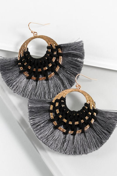 Woven Suede & Thread Tassel Statement Earrings (more colors)