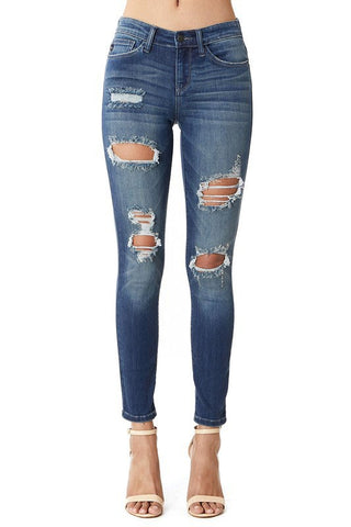 Medium Wash Mid-Rise Destroyed Skinny Denim by Judy Blue Jeans
