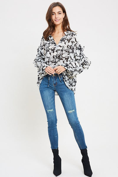 Black & White Floral Long Sleeve Blouse