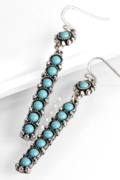 Boho Bar Drop Tuquoise Earrings