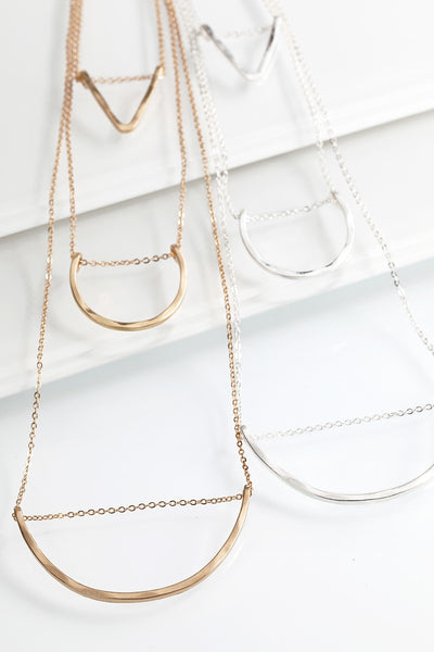 Triple Layer Geometric Hammered Metal Necklace