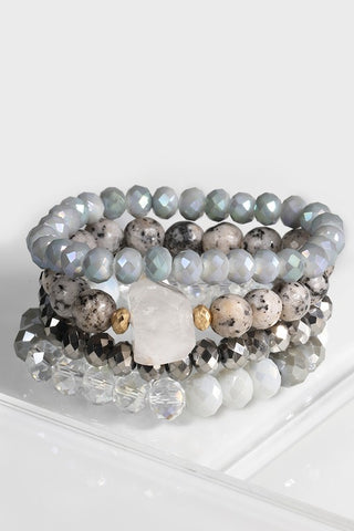 Natural Stone & Bead 4 Bracelet Set (more colors)