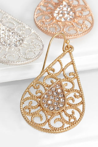 Filigree Teardrop Rhinestone Earrings