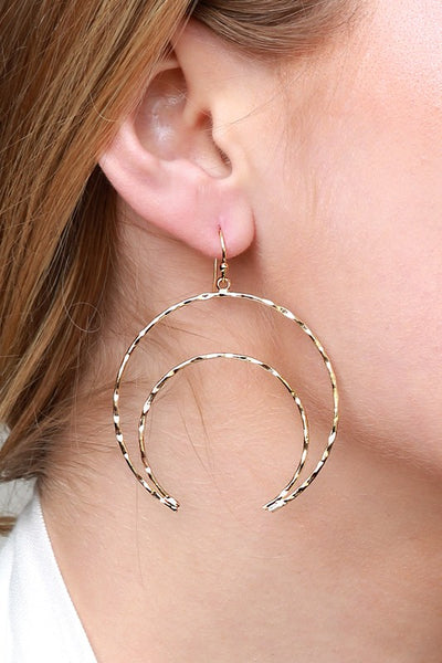 Textured Metal Crescent Dangle Earrings