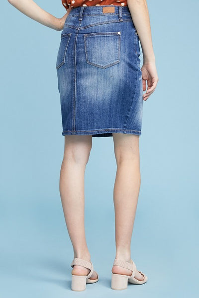 Front Slit Denim Pencil Skirt by Judy Blue Jeans