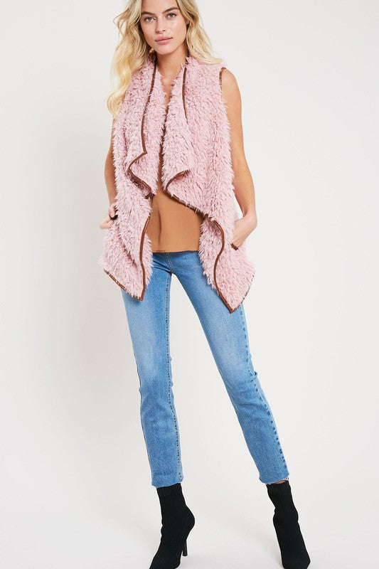 Fuzzy Wuzzy Faux Fur/Vegan Leather Vest (more colors)