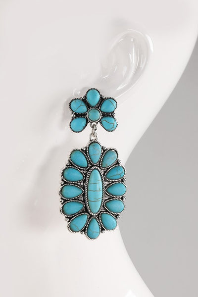 Boho Flower Turquoise Statement Earrings