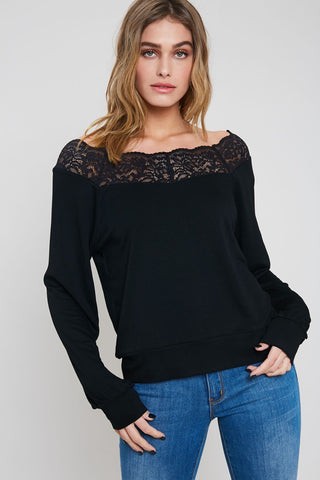 A Classic Tale Lace Detail Long Sleeve Top