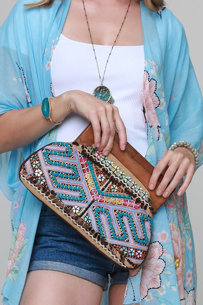 Embroidered Bead & Sequin Clutch
