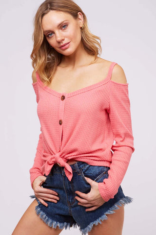 Coral Sunset Off-Shoulder Long Sleeve Top