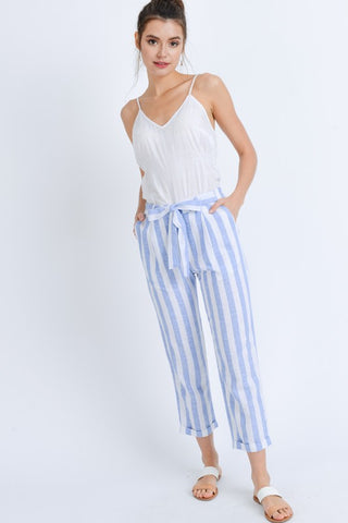 Baby Blue Stripe Linen Pants