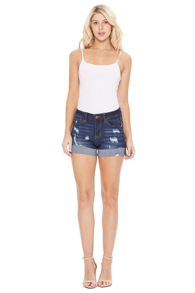 Raw Hem Cuff Dark Wash Jean Shorts