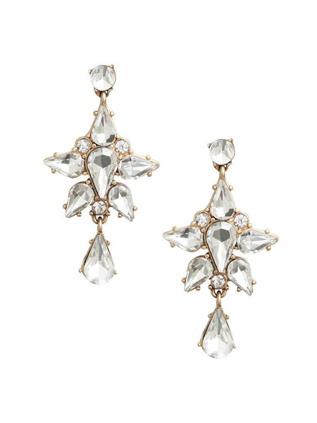Clear crystal statement earrings with a mix of vintage glam and bohemian charm look. Elegant and fun. Perfect for brunch, night out, or any special occasion. Especially a wedding.