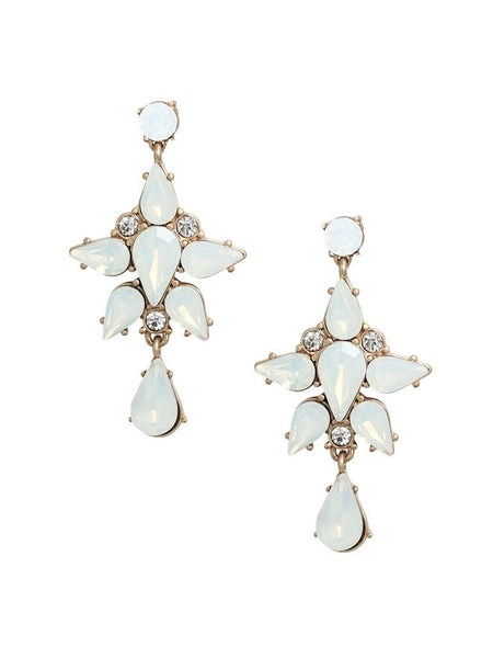 Opal and crystal statement earrings with a mix of vintage glam and bohemian charm look. Elegant and fun. Perfect for brunch, night out, or any special occasion. Especially a wedding.