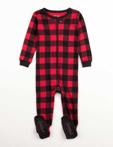 Red & Black Plaid Cotton Footed Pajamas