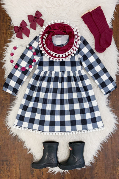 Black & White Buffalo Check Dress with Burgundy Scarf