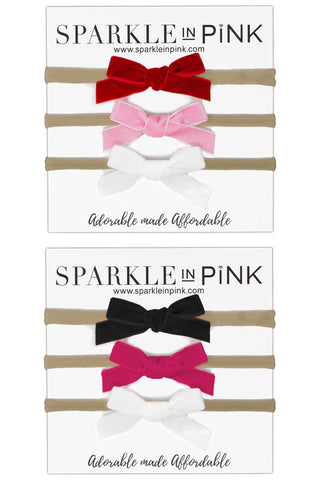 Velvet Nylon Headbands - 3 Pack