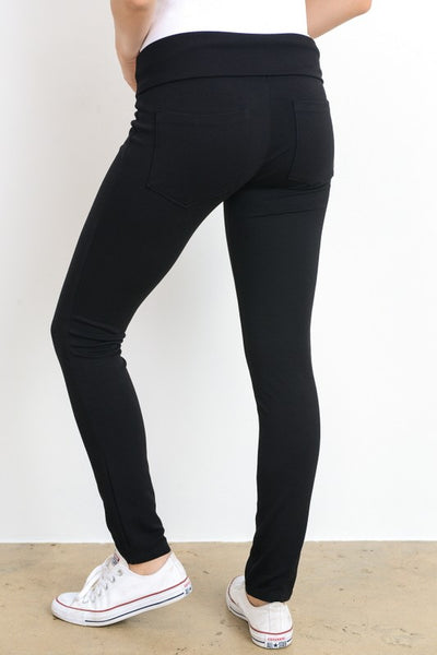 Black Fold-Over Stretch Pants