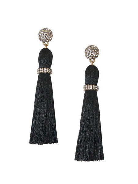 Candace Luxe Black Tassel Statement Earrings