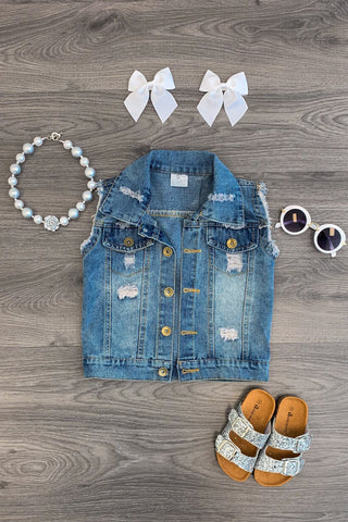 Distressed Denim Vest KIDS