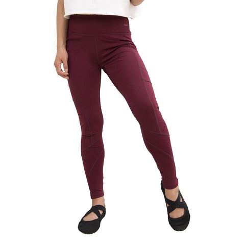 Crossover Leggings by Fitkicks - BURGUNDY