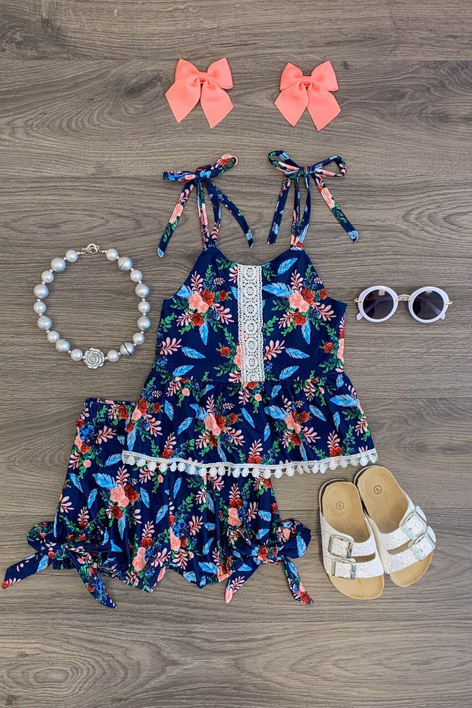 Navy Floral Pom Pom Tank/Shorts Set