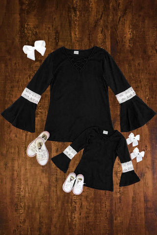 MOM & ME Black Bell Sleeve Tunic Top