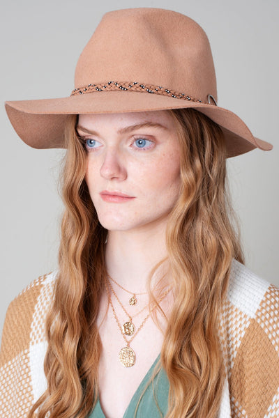 Pecan Floppy Felt Hat with Braided Detail