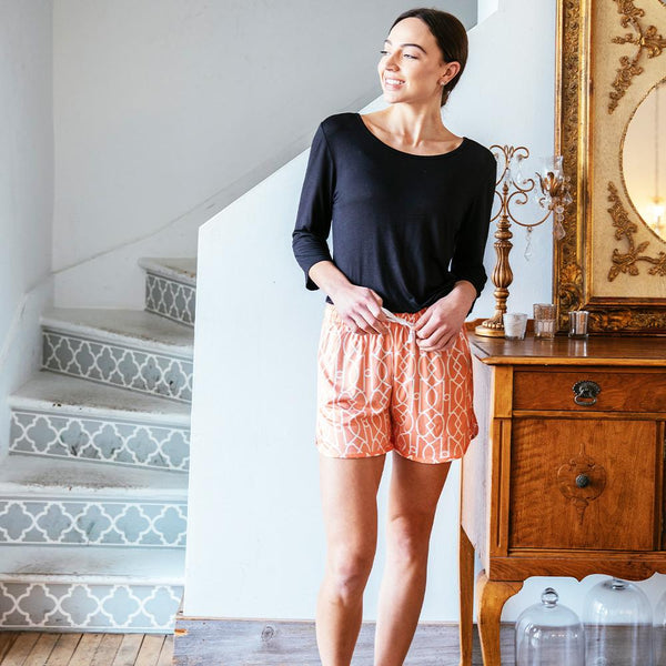 Calming Coral Leisure Time Lounge Shorts by Hello Mello