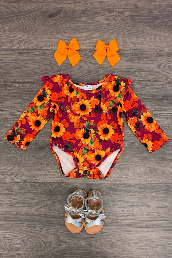 Fall Sunflower Floral Onesie