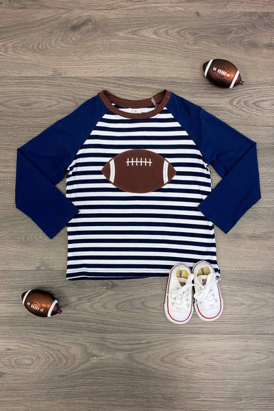 Navy & White Stripe Football Long Sleeve Tee