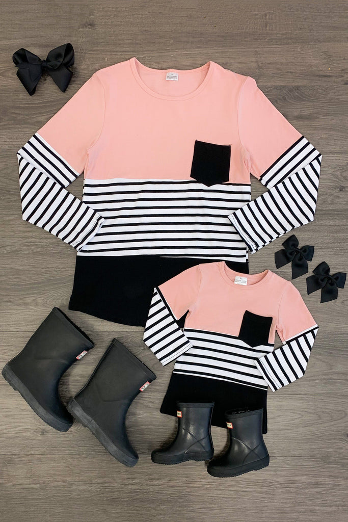 MOM & ME Blush/Black Striped Long Sleeve Top