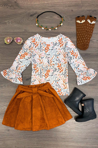 Fall Leaves Top and Suede Skirt Set