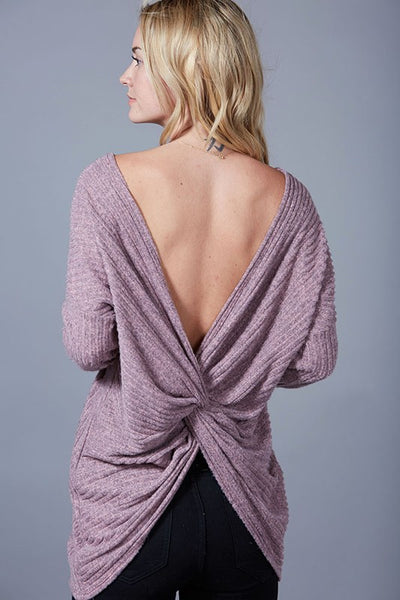 Sweet Daydream Mauve Open-Back Sweater