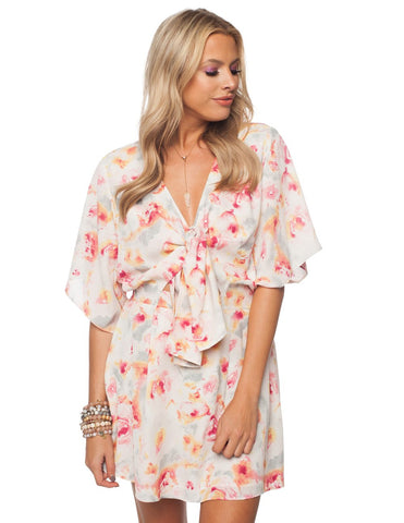 Waterlily Tie Front Cut-Out Flutter Sleeve Dress