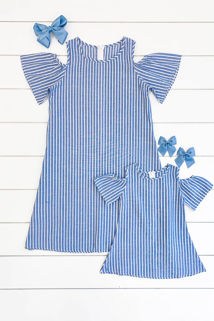 Mom & Me Blue/White Striped Cold Shoulder Linen Dresses