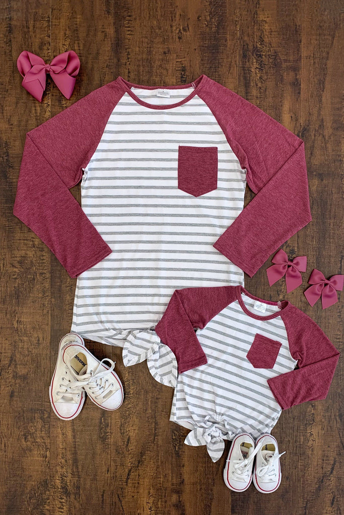 MOM & ME Burgundy Baseball Tie Top