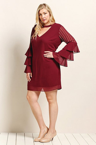 Get On Your Feet Ruffle Sleeve Deep Berry Dress