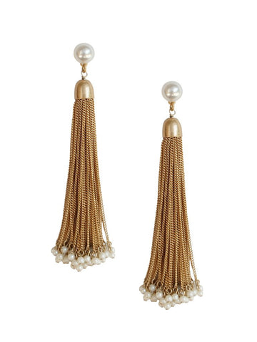 Pearl Gold Tassel Earrings
