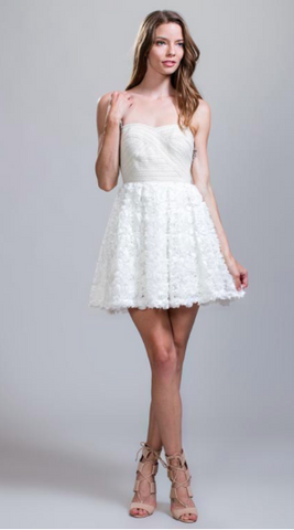 We're In Heaven Dress Ivory Feather Strapless Dress