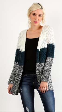 Color Block Shaggy Cardigan