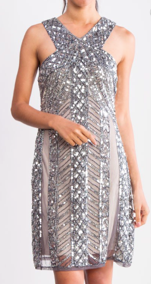 Glitz & Glamour Silver Beaded Dress