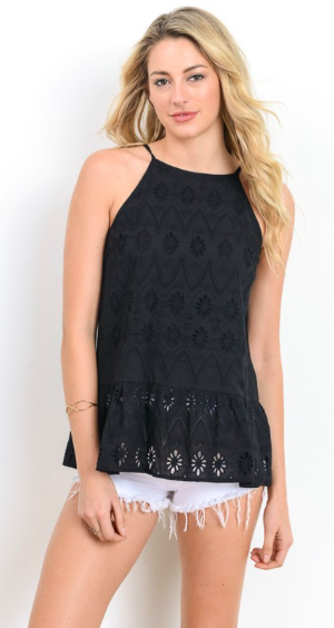 Black eyelet lace peplum tank top with a keyhole tie back. Fully lined. Loose fit. Lightweight.