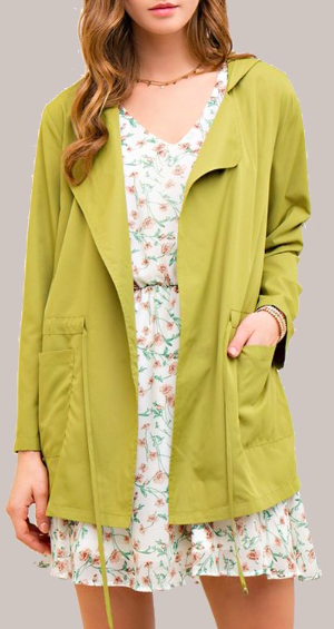 Easy Breezy Light Olive Open Hooded Jacket