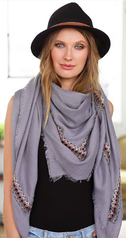 ZigZag Grey Embroidered Square Scarf