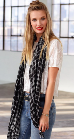 Casual Lightweight Plaid Scarf