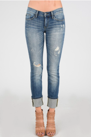 Off the Cuff Distressed Cuffed Judy Blue Jeans